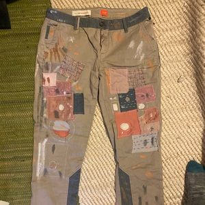 Anthropologie Embroidered Patchwork Pants